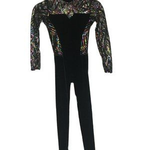 WEISSMAN dance costume black size MC iridescent r